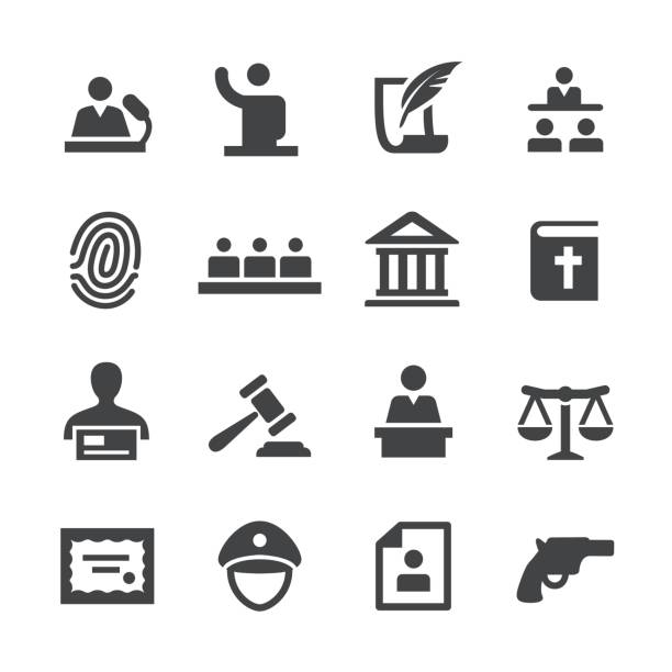 law icons set - acme series - lawyer stock illustrations, clip art, cartoons, & icons