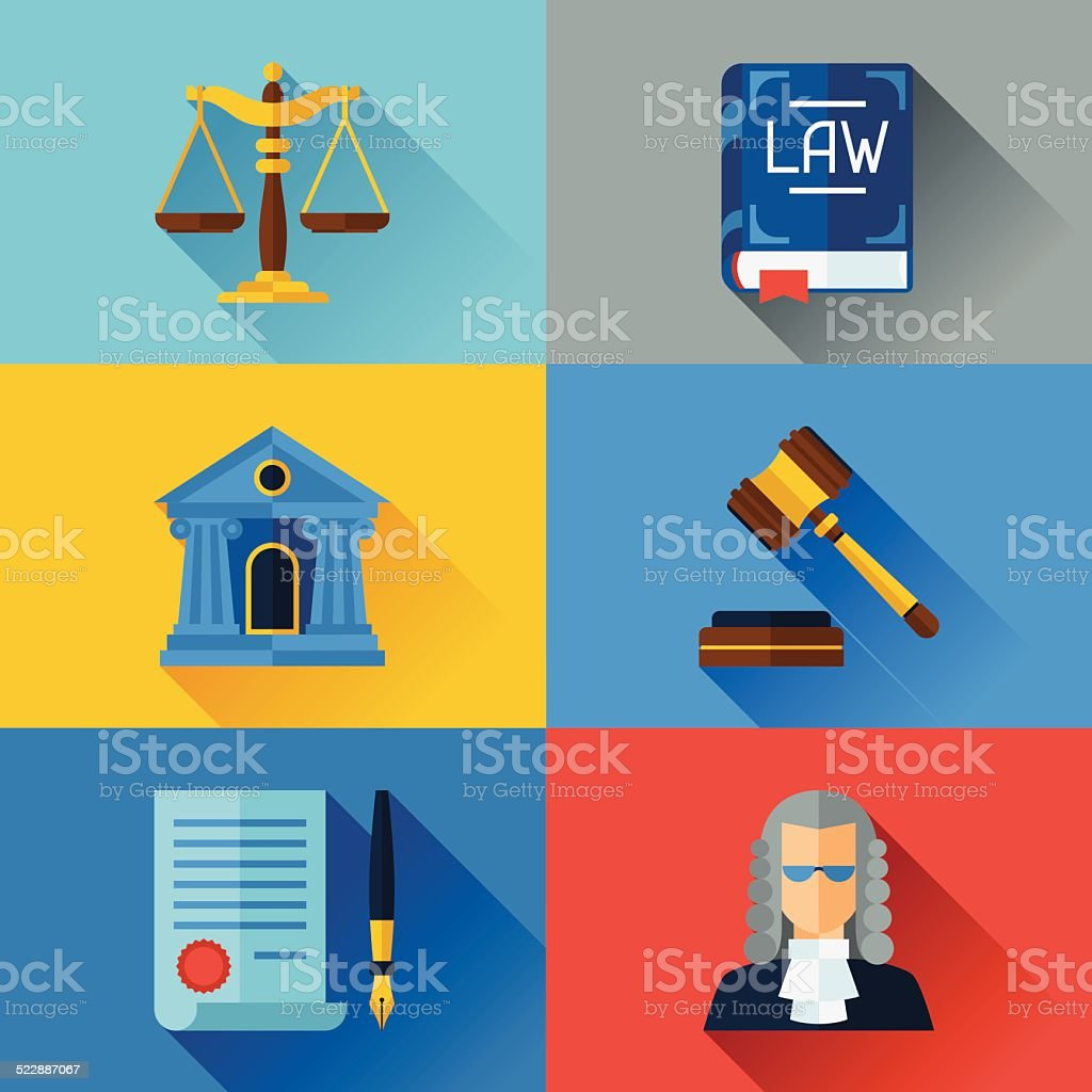 Law icons set in flat design style. vector art illustration