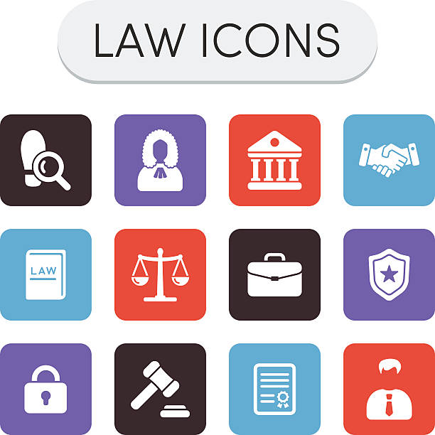 Law Icons Set of colored vector justice, law and legal icons supreme court stock illustrations