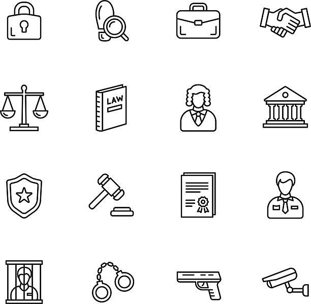 illustrations, cliparts, dessins animés et icônes de icônes de droit - polices ligne fine