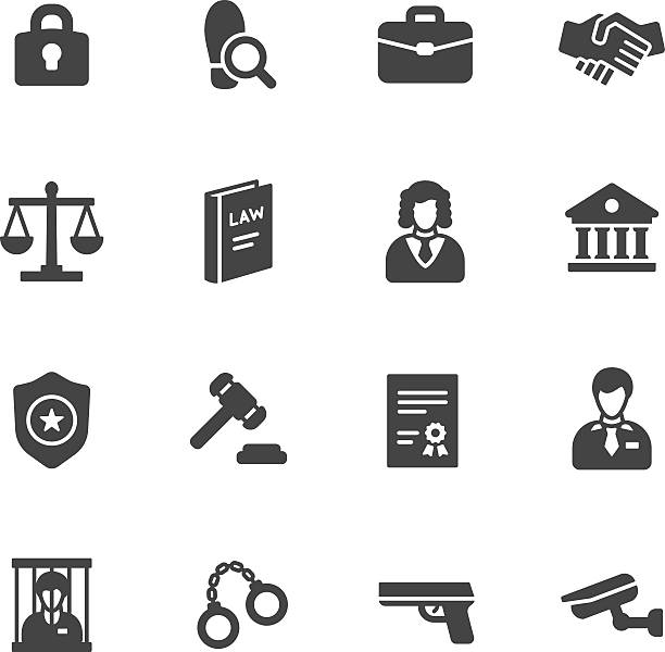 Law Icons Law icons. Simple flat vector icons set on white background judge law stock illustrations