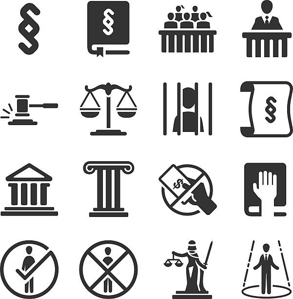 Law icons Law and legal icon set punishment stock illustrations