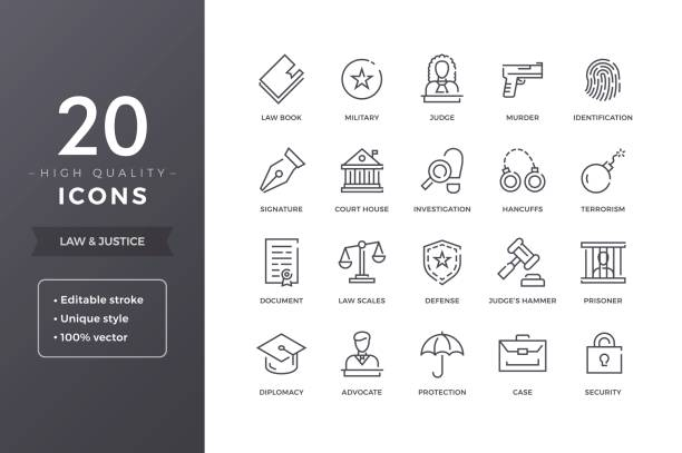 Law Icons Law line icons. Vector justice and legal icon set with editable stroke police line up stock illustrations