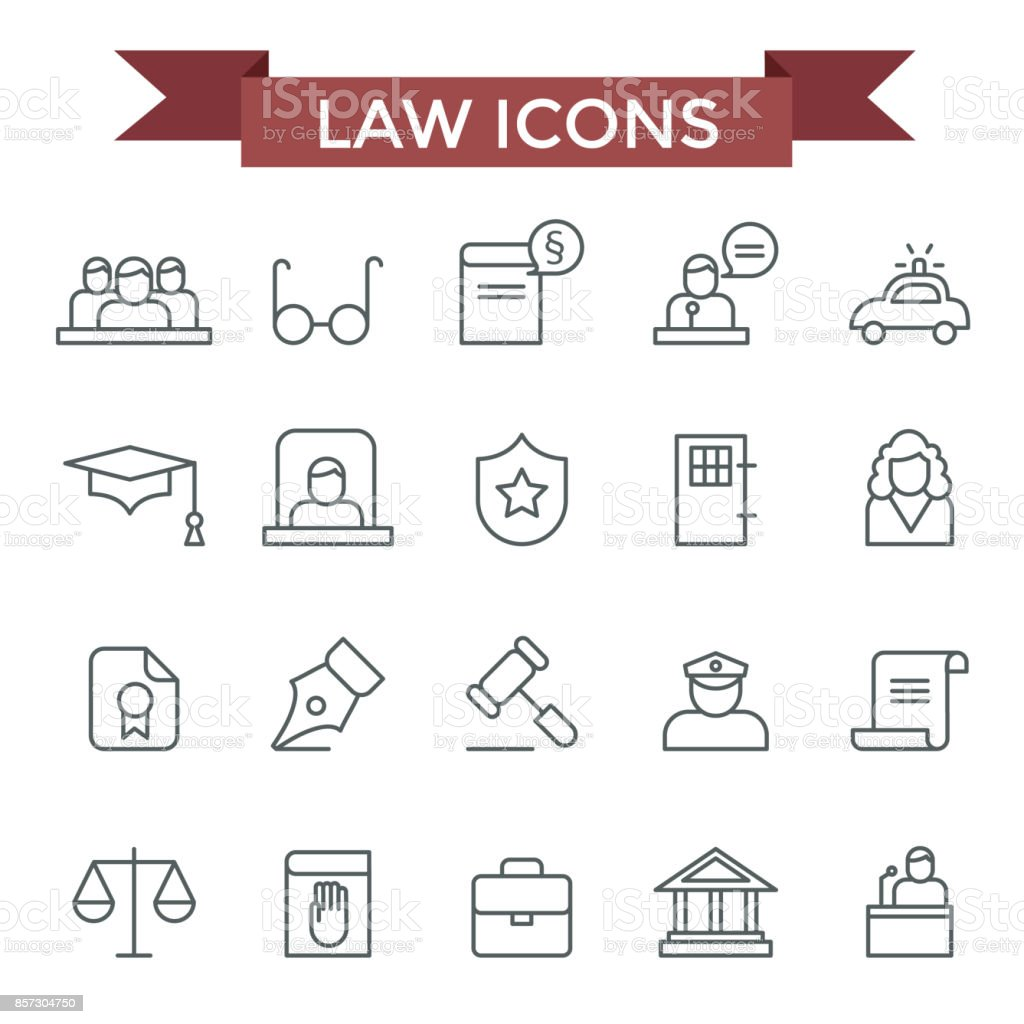 Law icons. vector art illustration
