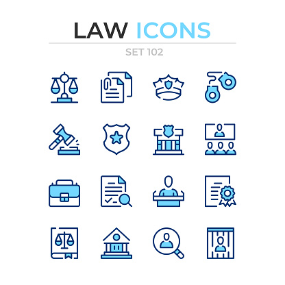 Law icons. Vector line icons set. Premium quality. Simple thin line design. Modern outline symbols collection, pictograms.