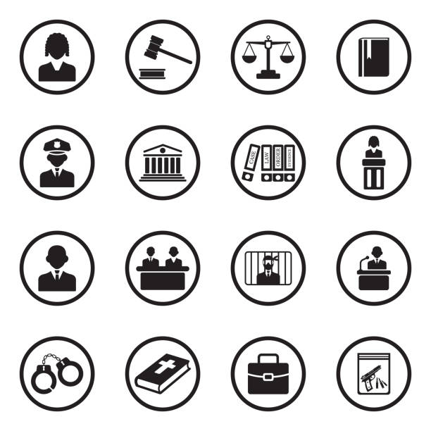 Law, Judge and Court Icons. Black Flat Design In Circle. Vector Illustration. Justice, Court, Judge, Lawyer, Defense courthouse stock illustrations