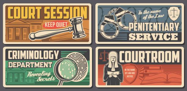 hukuk hakimi, adalet mahkemesi, hukukçu mahkeme salonu - supreme court stock illustrations
