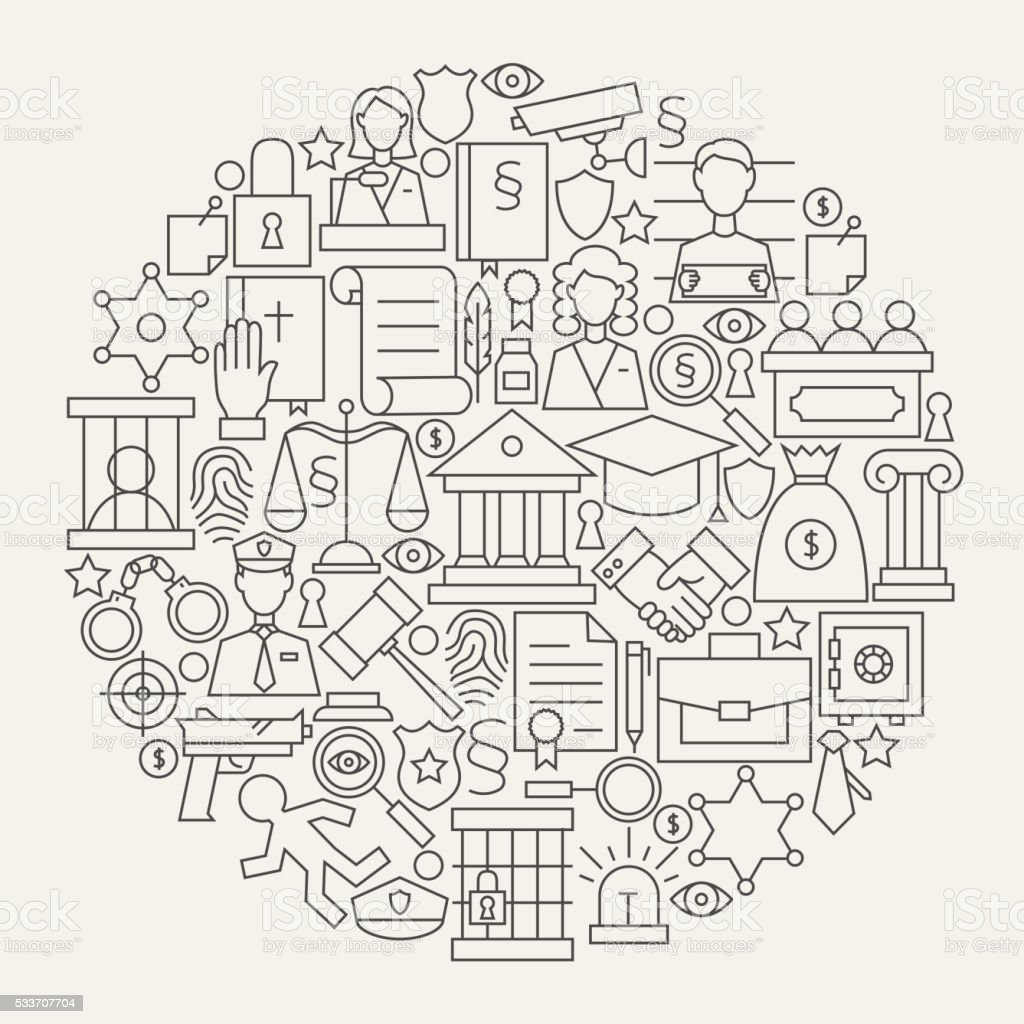 Law Justice and Crime Line Icons Set Circle Shape vector art illustration