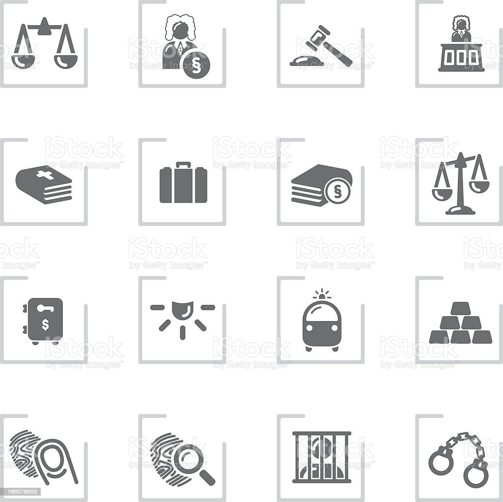 Law & Justice Icons | Framed Grey vector art illustration