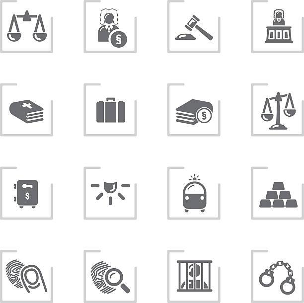 Law & Justice Icons   Framed Grey vector art illustration