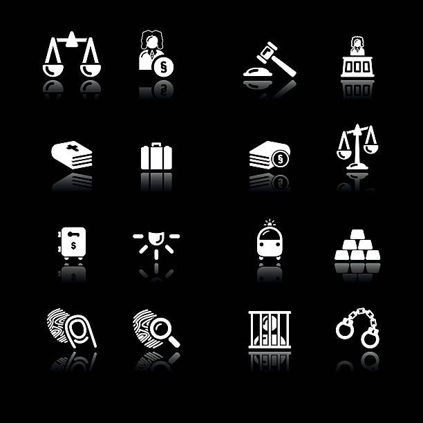 Law & Justice Icons   Simple White vector art illustration
