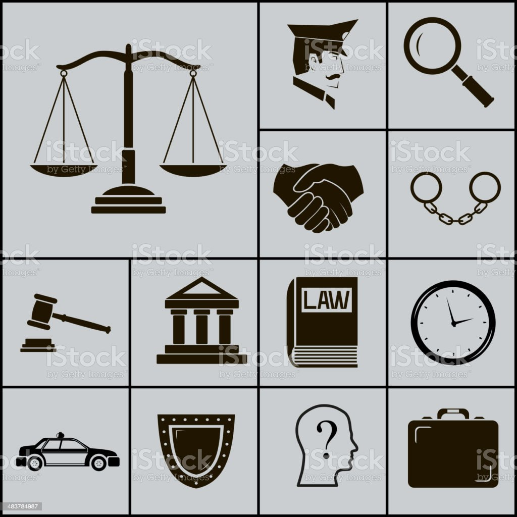 Law Justice Police Icons And Symbols Silhouette On Gray Background