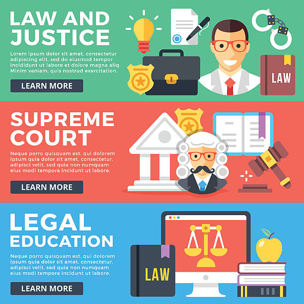 law, justice, supreme court, legal education flat illustration concepts set - supreme court 幅插畫檔、美工圖案、卡通及圖標