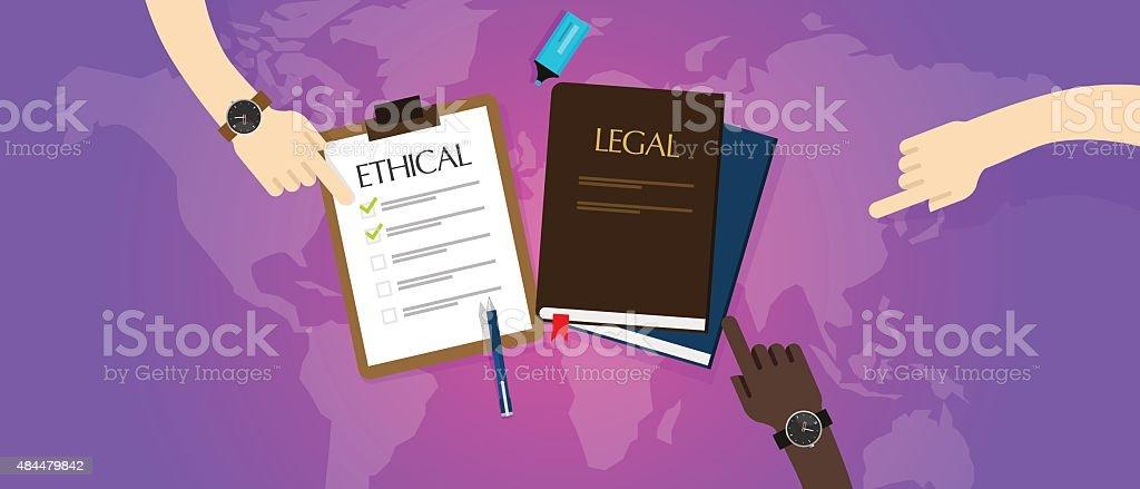 law legal vs ethical ethics vector art illustration