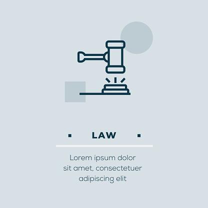 Law Line Icon, Stock Illustration