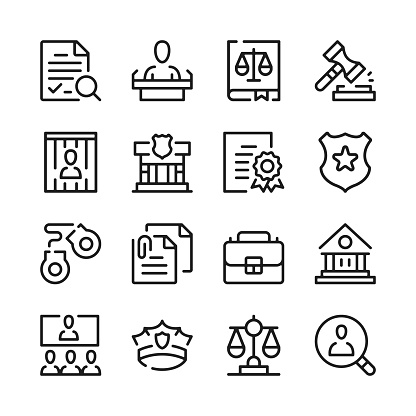 Law line icons set. Justice concepts. Modern graphic design. Thin line concepts. Simple linear outline elements collection. Vector line icons