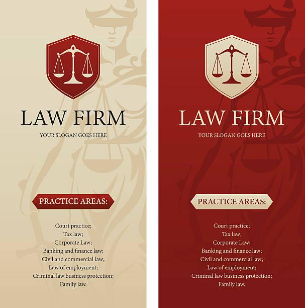 bildbanksillustrationer, clip art samt tecknat material och ikoner med law office, firm or company vertical banners - law