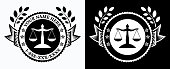 Law Office Logo Black and White Template. This vector illustration depicts a law office logo sign template. The re two versions included. The design on the left is in black on white background and the design on the right is the knock out version on black background. The text is a place holder. Image is ideal for a legal practice sign.