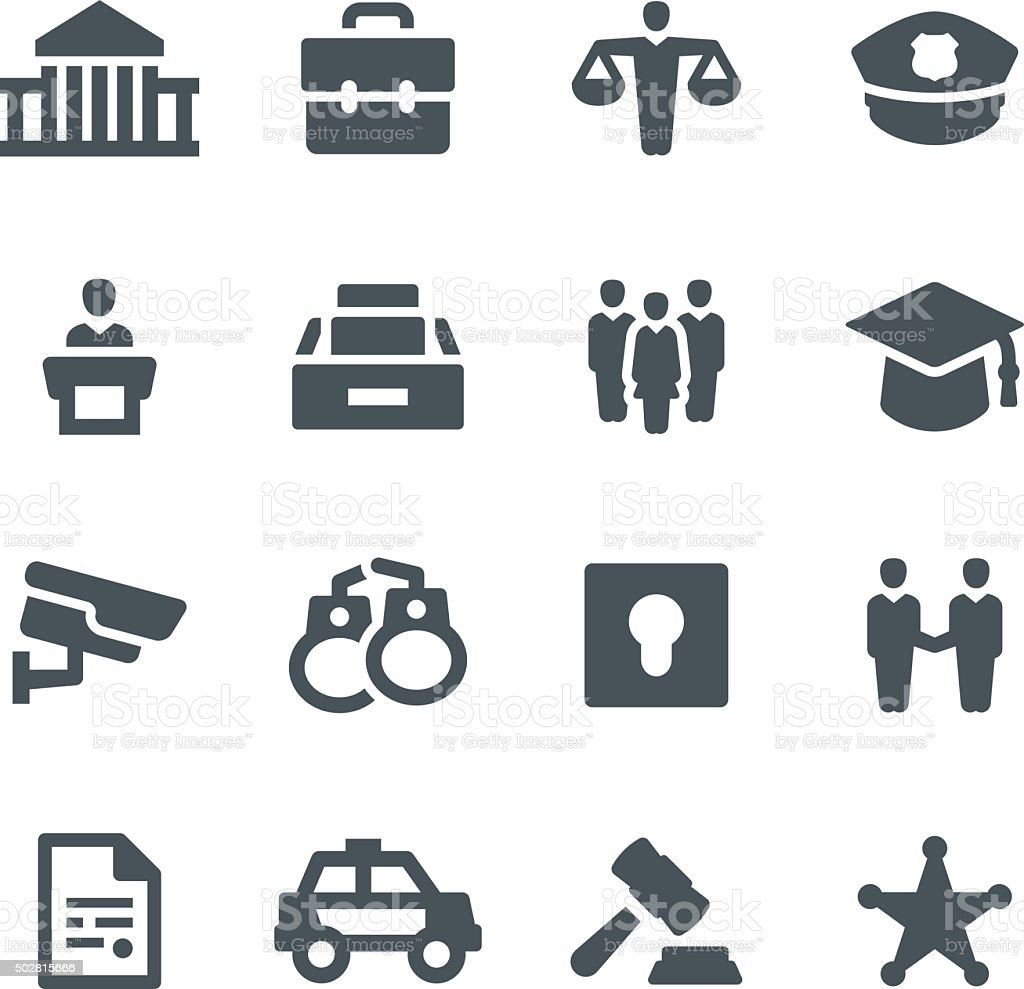 Law & Order Icons vector art illustration