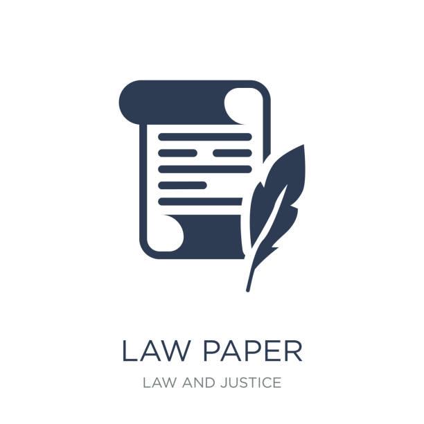 illustrations, cliparts, dessins animés et icônes de icône de papier droit. icône de papier plat vecteur droit sur fond blanc de la collection droit et justice - notaire