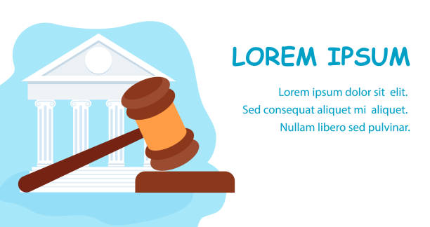 Law School, Jurisprudence Education Web Banner Law School, Jurisprudence Education Web Banner. Judge Wooden Gavel, Hammer Justice Symbol Illustration. US Supreme Court Building Facade. Cartoon White Courthouse. Attorney, Notary Firm supreme court stock illustrations