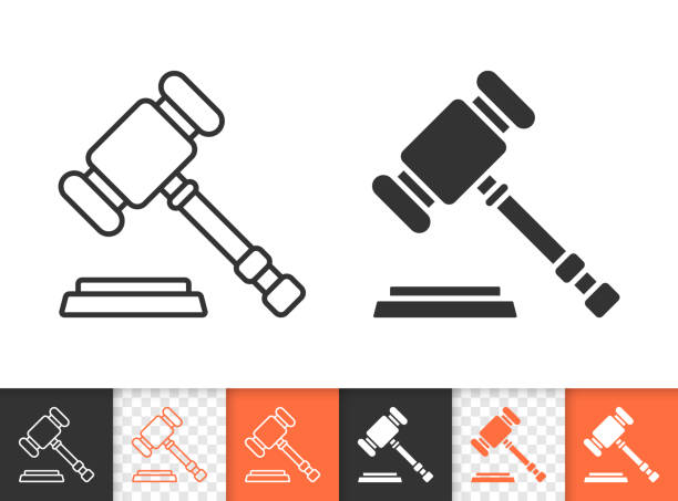 Law simple black line vector icon Law black linear and silhouette icons. Thin line sign of wooden gavel. Court hammer outline pictogram isolated on white, transparent background. Auction hammer vector icon simple symbol close-up judge law stock illustrations