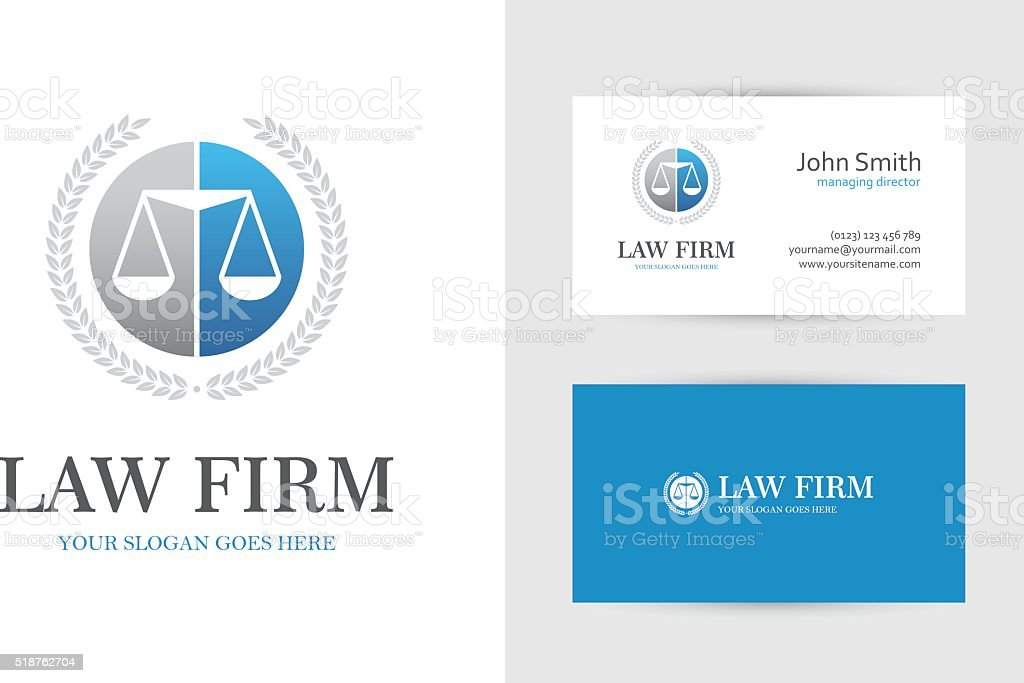Law symbol with scales in blue and gray colors vector art illustration