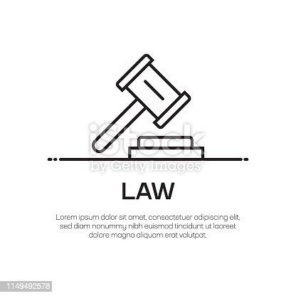 Law Vector Line Icon - Simple Thin Line Icon, Premium Quality Design Element