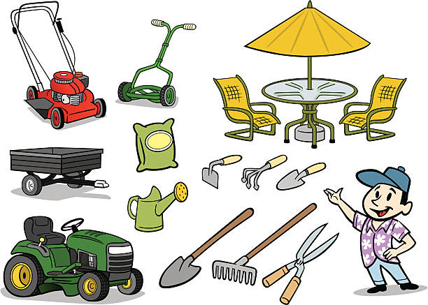 Best Riding Mower Illustrations Royalty Free Vector