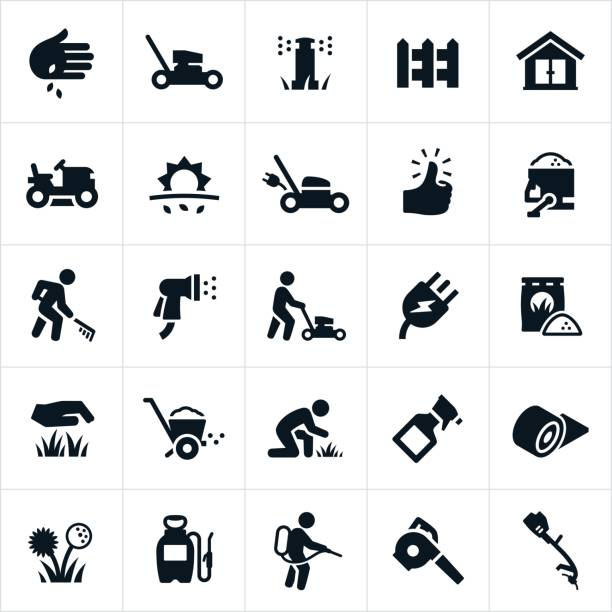 Lawn Care Icons A set of lawn care icons. The icons include lawn mowers, landscapers, grass, sprinkler system, irrigation system, picket fence, planting seeds, electric lawn mower, green thumb, fertilizer, care, sod, weed killer, weed, and other lawn care equipment. shed stock illustrations
