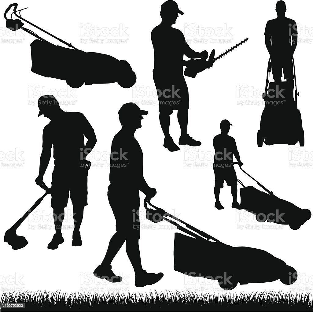 lawn care silhouettes stock illustration