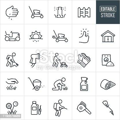 A set of lawn care icons that include editable strokes or outlines using the EPS vector file. The icons include a push lawn mower, riding lawnmower, planting grass, laying sod, sprinkler, picket fence, electric lawnmower, green thumb, shed, raking, person mowing the lawn, spray nozzle, gardening gloves, fertilizer, grass, lawn, fertilizer spreader, gardener, spray bottle, pesticides, dandelion, pump sprayer, leaf blower and grass trimmer.