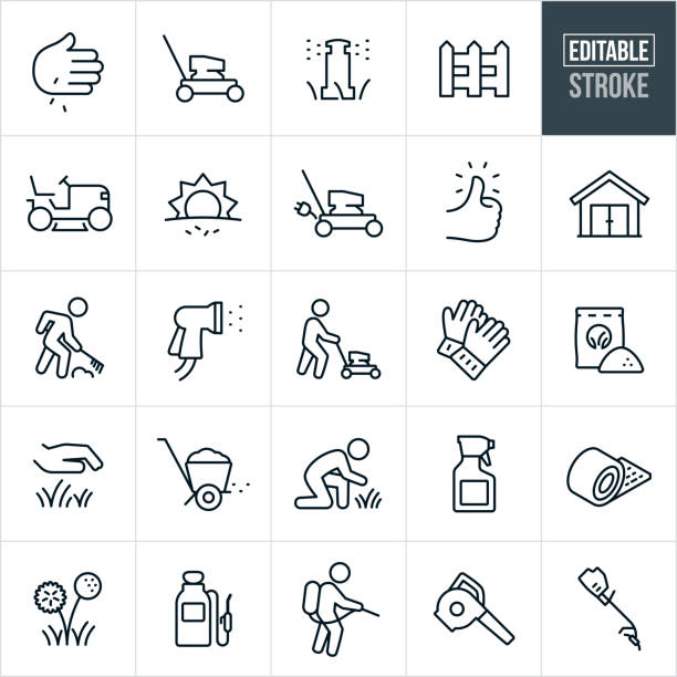 Lawn Care Thin Line Icons - Editable Stroke A set of lawn care icons that include editable strokes or outlines using the EPS vector file. The icons include a push lawn mower, riding lawnmower, planting grass, laying sod, sprinkler, picket fence, electric lawnmower, green thumb, shed, raking, person mowing the lawn, spray nozzle, gardening gloves, fertilizer, grass, lawn, fertilizer spreader, gardener, spray bottle, pesticides, dandelion, pump sprayer, leaf blower and grass trimmer. gardening stock illustrations