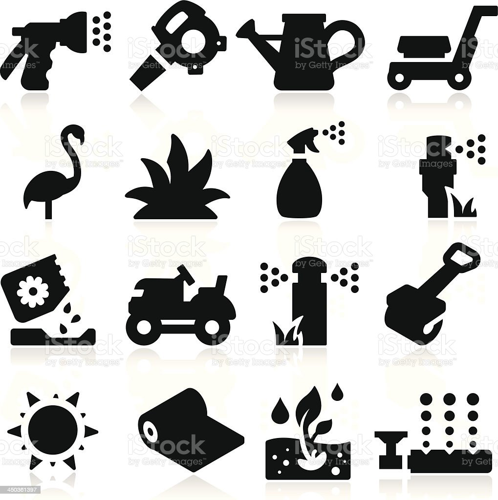 Lawn Icons vector art illustration