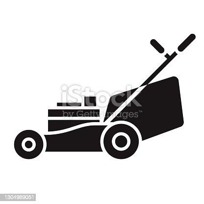istock Lawn Mower Gardening Glyph Icon 1304989051