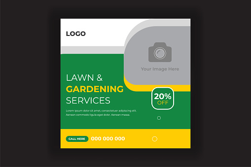 Lawn Mower Gardening Service Social Media Post and Web Banner Template For Your Business. Grass, equipment, gardener