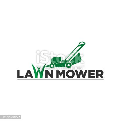 istock Lawn mower sign for cutting grass company 1272335275