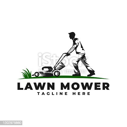 Lawn Mower with People Vector Icon Illustration