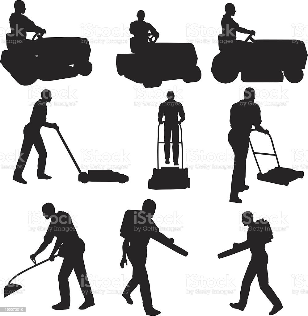 Lawn Service Silhouette Collection royalty-free stock vector art