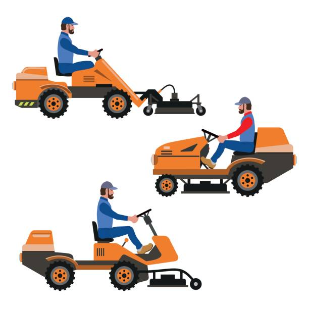 Riding Lawn Mower Illustrations Royalty Free Vector
