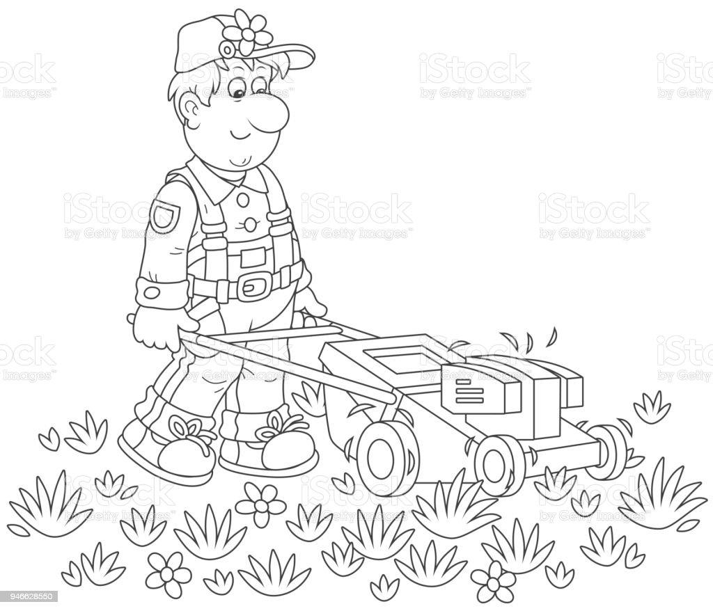 Iş Yerinde çim Biçme Makinesi Stok Vektör Sanatı Adamlarnin Daha