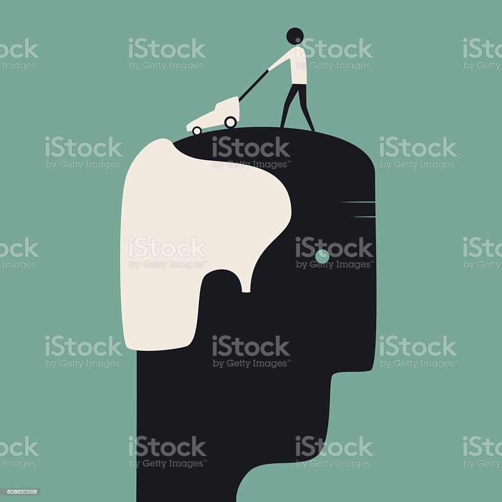Lawn-mower shaving head of bald man. Flat vector illustration vector art illustration