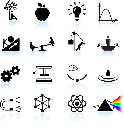 Die Gesetze Der Physik Lizenzfreie Vektor Iconset Stock