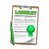 Lawsuit Paper, Legal Action, Document Vector Realistic Illustration