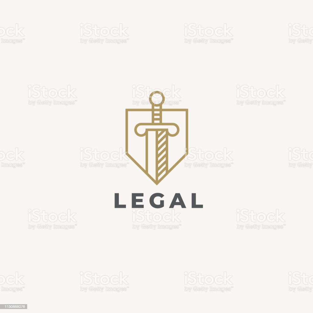 Lawyer Advocate emblem design. Vector Linear style template. Law firm emblem icon. Universal legal, advocate, lawyer symbol. Sword and shield. Justice idea. Protect or defense concept icon. - Grafika wektorowa royalty-free (Abstrakcja)