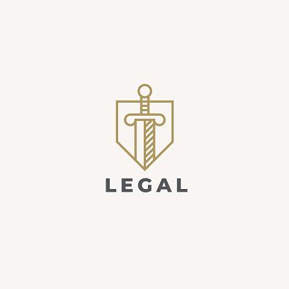 Lawyer Advocate Emblem Design Vector Linear Style Template Law Firm Emblem Icon Universal Legal Advocate Lawyer Symbol Sword And Shield Justice Idea Protect Or Defense Concept Icon - Stockowe grafiki wektorowe i więcej obrazów Abstrakcja