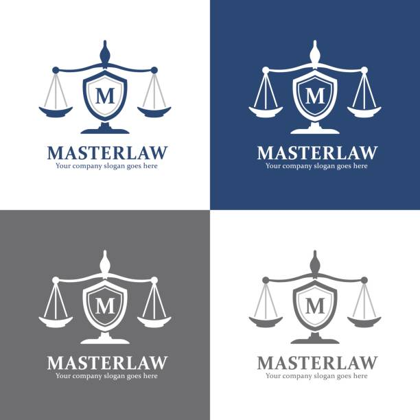lawyer and justice office icon, attorney brand - lawyer stock illustrations, clip art, cartoons, & icons