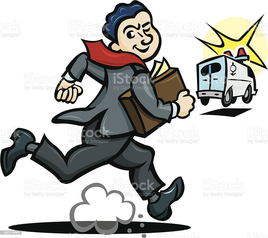 """Lawyer Chasing Ambulance Lawyer Chasing Ambulance. Graphic illustration of a lawyer chasing an ambulance. Check out my """"Vector Emergency Service & Law"""" light box for more. Ambulance stock vector"""