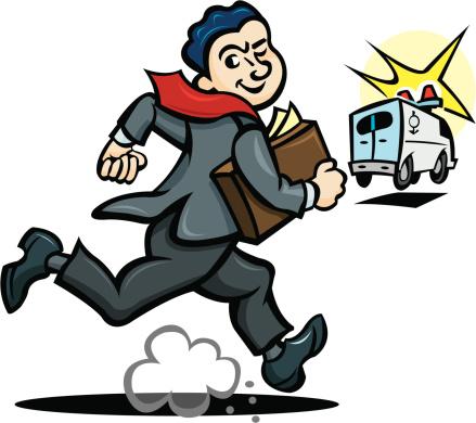 Lawyer Chasing Ambulance Stock Illustration - Download Image Now