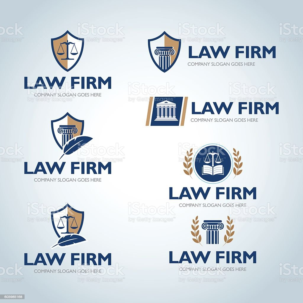 Lawyer emblem design templates. - illustrazione arte vettoriale